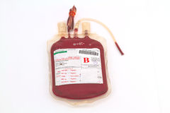 Close up bag of blood and plasma  group B and rubber tube isolat Stock Photo