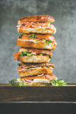 Close-up of Bagels heap with salmon, eggs, vegetables and cream-cheese Stock Photography