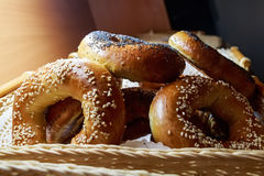 Close up of bagels with sesame and poppy seed Royalty Free Stock Photos