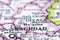 Close up of Baghdad on map, Iraq Stock Images