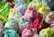 Close up bags of Lavender in gift pouches Stock Image
