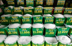 Close up of bags of rice in a local market Stock Image