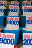 Close up of bags of rice in a local market in Vietnam with price Royalty Free Stock Photography