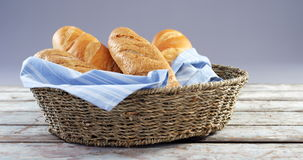 Close-up of baguettes in basket stock video footage
