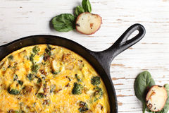 Close-up of baked egg frittata Royalty Free Stock Image