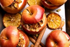 Baked apples with granola Stock Photography
