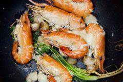 Close up baked Salted Prawns Royalty Free Stock Photo