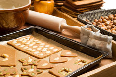 Close-up of baking tray with gingerbread cookies Stock Photo