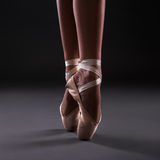 Close up of ballerina legs in pointes Royalty Free Stock Image