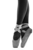 Close up of ballerina's shoes en pointe Royalty Free Stock Photos