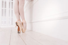 Close up of ballerina wearing beige points. Shoes for ballet. Professional ballerina wearing white tights and points standing on tiptoes while posing in dance Royalty Free Stock Photo
