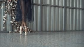 Close-up of ballet dancer`s legs in pointe shoes, tights and mesh skirt dancing on pointe in a choreography room. Ballet stock image