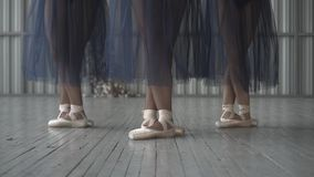 Close-up of ballet dancers legs in pointe shoes, tights and mesh skirt training in the choreography room on the wooden stock image