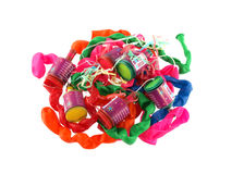 Close up of balloons and party poppers Stock Image