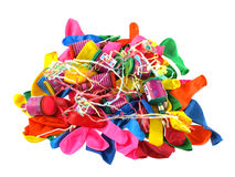 Close up of balloons and party poppers Stock Photography