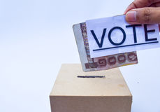 Close up of a ballot box and casting vote Stock Image