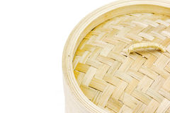 Close up bamboo steamer on white background Stock Photo