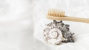 Close up of bamboo toothbrush, zero waste concept stock image