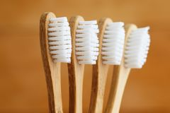 Close up of bamboo toothbrushes stock photography