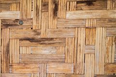 Bamboo weave coatings wood stain background. Close up bamboo weave coatings wood stain texture background royalty free stock image