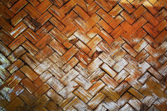 Close up of bamboo wickerwork weave varnish. Royalty Free Stock Image