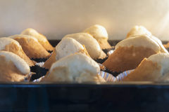 Close up banana cupcake in oven. During cooking Stock Photos