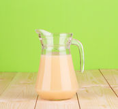 Close up of banana juice in carafe. Whole background Stock Images