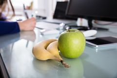 Close-up Of Bananas And Green Apple stock photography