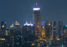 Close-up Bangkok cityscape Modern building on twilight time Royalty Free Stock Photos