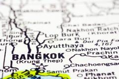 Close up of Bangkok on map, thailand Stock Photos