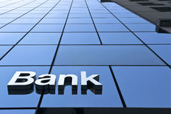 Close up a bank sign. Bank sign on the modern building close up stock photo