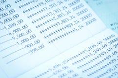 Close up bank statement, passbook Stock Photo