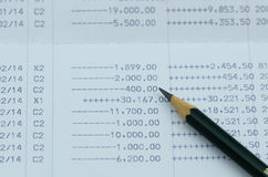 Close up bank statement with pencil Royalty Free Stock Image