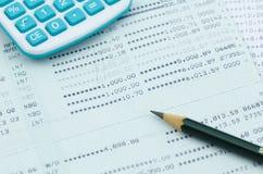 Close up bank statement with pencil Stock Photos