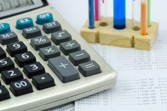 Close up bank statement withe calculator Stock Photos