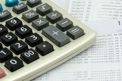 Close up bank statement withe calculator Royalty Free Stock Image