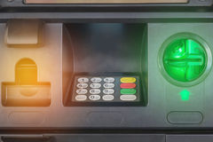 Close up banking machine or ATM automatic teller machine cash money machine Royalty Free Stock Photos