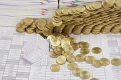 Close up bankruptcy house have gold coins collapse Stock Photo