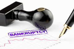 Close-up of bankruptcy stamped on the chart Royalty Free Stock Image