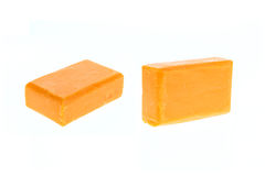 Close up bar of orange carrot soap isolated on white Royalty Free Stock Image
