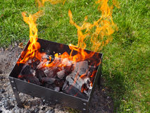 Close up of barbecue grill with fire Royalty Free Stock Images