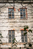 Close-up of barbed wire of soviet old jail in Tallinn Stock Images