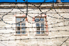 Close-up of barbed wire of soviet old jail in Tallinn Royalty Free Stock Photo