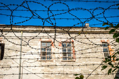 Close-up of barbed wire of soviet old jail in Tallinn Stock Photography
