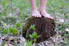 Close up of bare feet running Royalty Free Stock Image
