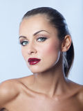 Close up Bare Seductive Woman in Dark Red Lipstick royalty free stock photo