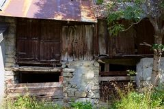 Close up of a barn ruin Royalty Free Stock Images