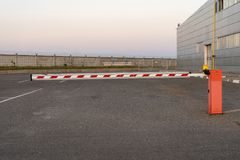 Close up Barrier Gate Automatic system for security. Automatic entry system royalty free stock image