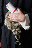 Close Up Of Barrister Holding Brief And Wig. Barrister Holding Brief And Wig stock photography