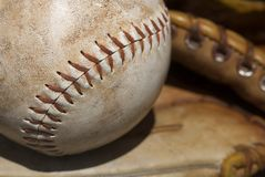 Close up of a baseball. Macro Close up of a baseball Royalty Free Stock Images